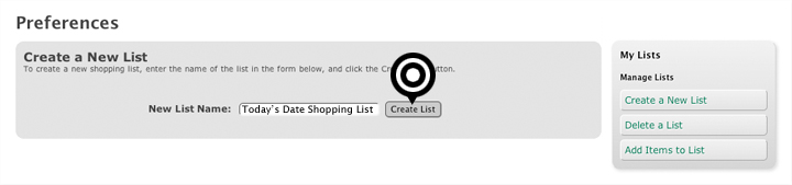 Create a new Shopping List
